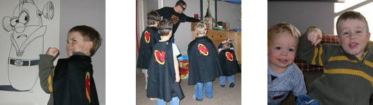 Silas posing in front of a Larry Boy poster, and friends wearing capes at his party.