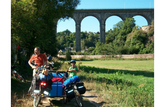Resting beneath the viaduct at Dinan