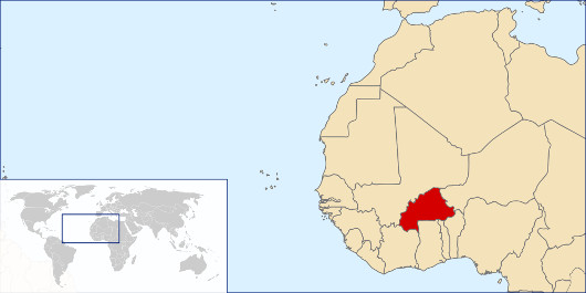 Burkina Faso situated on a map