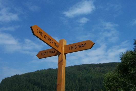 "A signpost saying: ""This way, that way, the other way."""