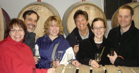 Campus team in the wine cellar