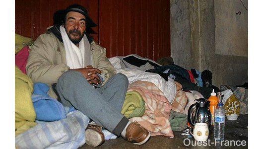 A homeless man in Rennes, from Ouest-France