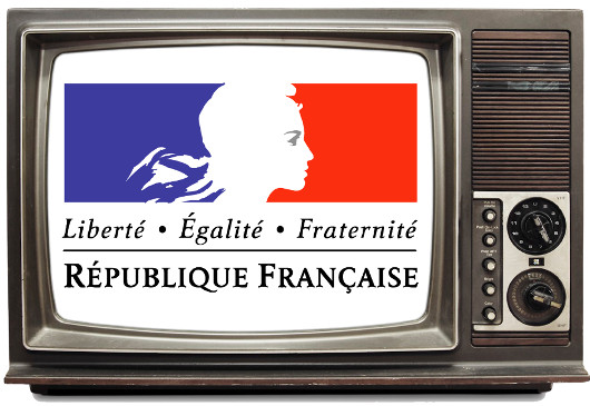 A television with a logo for the french republic on the screen