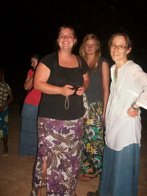 May and Melissa at night during the Jesus Film projection.