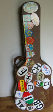 Dan's guitar case, covered with stickers