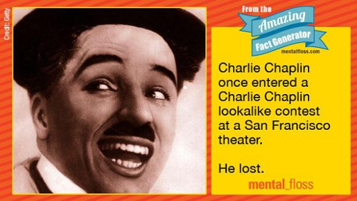 "Charlie Chaplin photo with quote ""Charlie Caplin once entered a Charlie Chaplin lookalike contest at a San Francisco theater. He lost."" Clipped from Mental Floss"