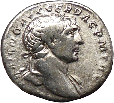 An ancient silver roman coin