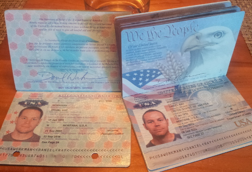 Dan's old and new passports