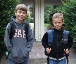 First day of school - Silas 6th, Efrem 3rd grade