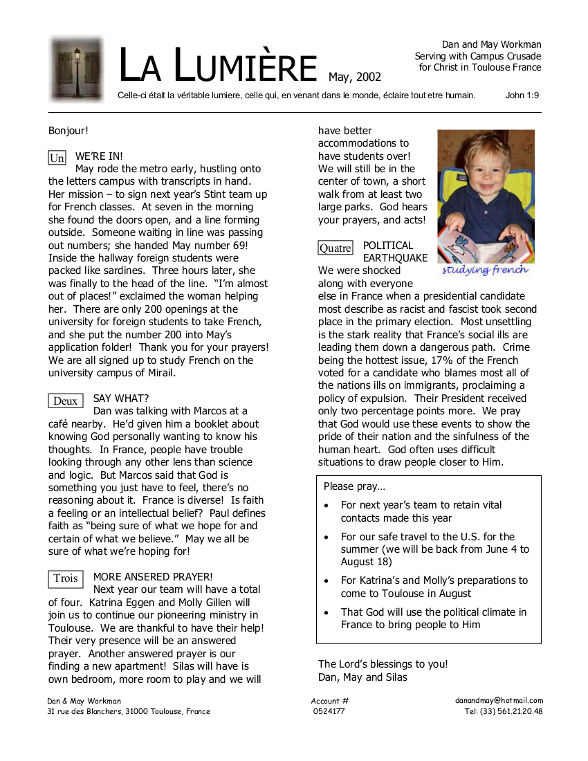 Newsletter May 2002