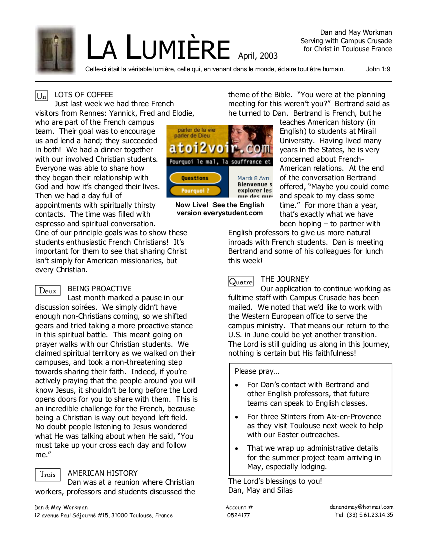 Newsletter April 2003