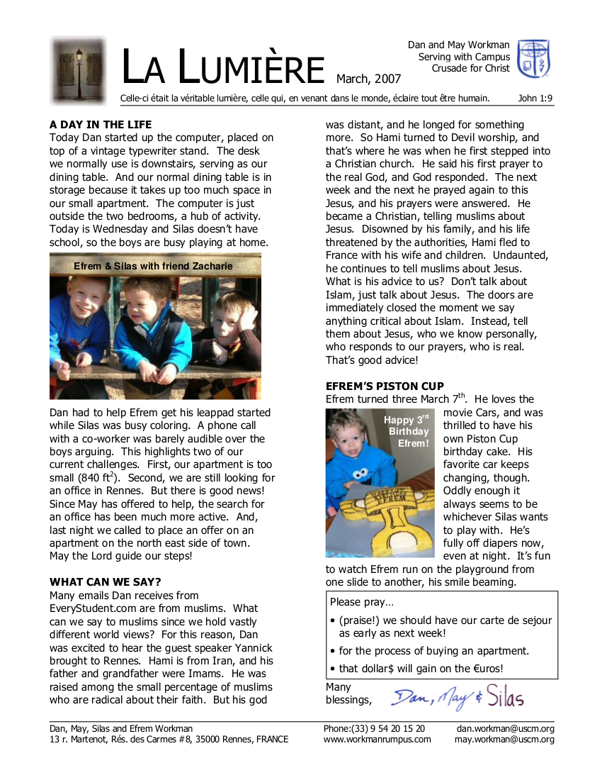 Newsletter March 2007